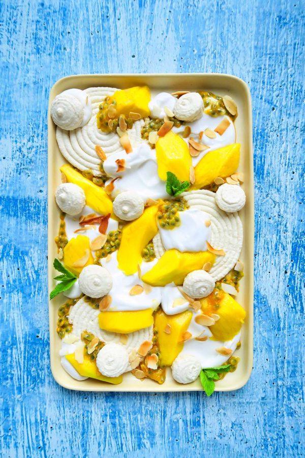 vegan zomer macarons met tropisch fruit