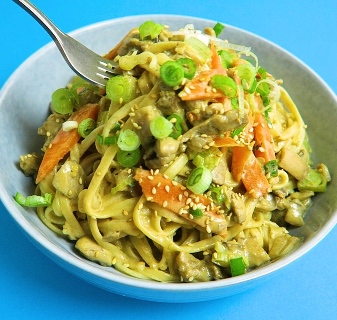 vegan tahin noodles
