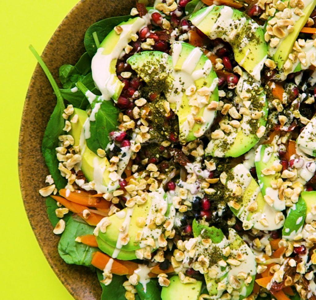 vegan spinazie linzensalade