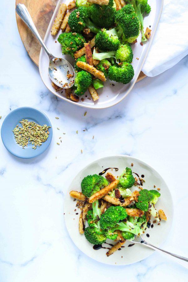 vegan schnitzel broccoli met venkel