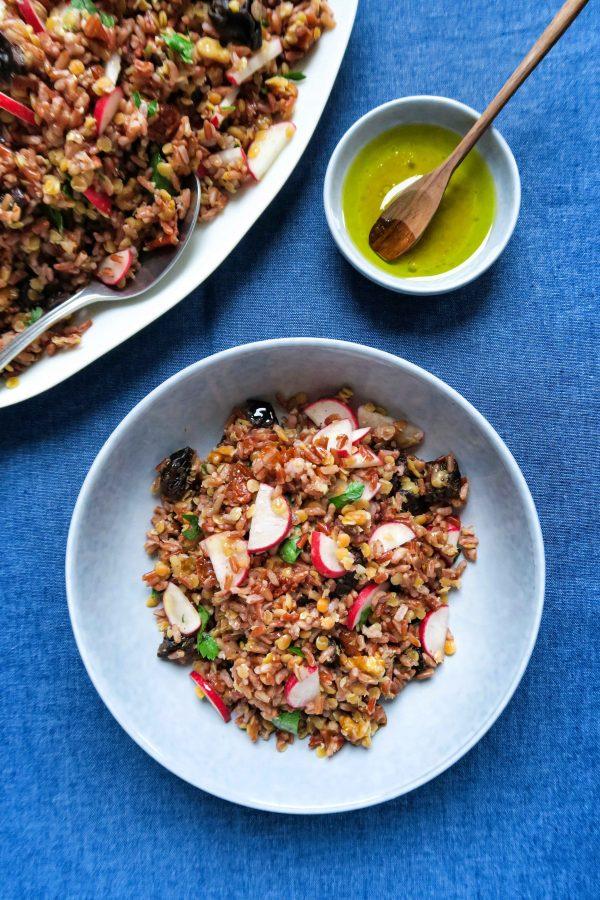 vegan rode rijstsalade